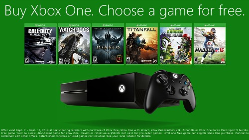 Free Game With The Purchase Of An Xbox One