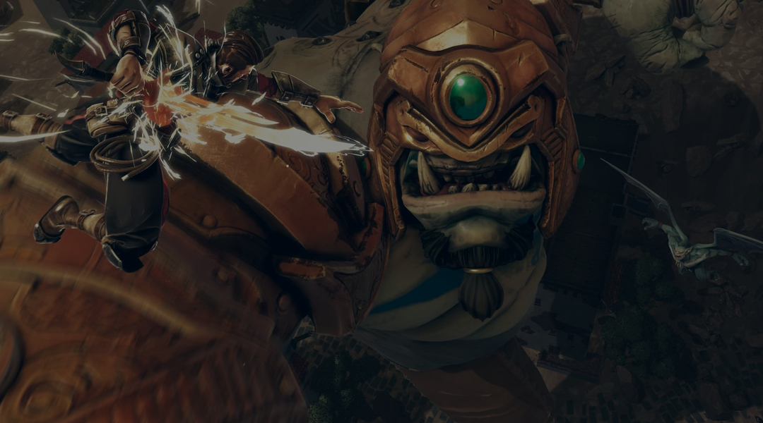 Screenshot of Extinction with protagonist attacking ogre from above