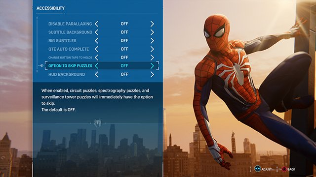 spiderman accessibility menu